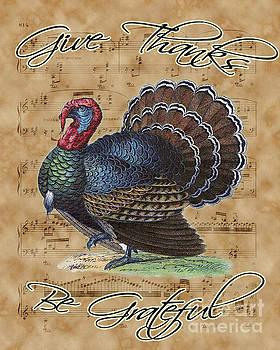 Thanksgiving Turkey on Vintage Music Sheet by Anna W