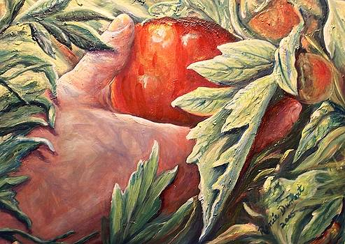 That First Tomatoe by Renee Dumont  Museum Quality Oil Paintings  Dumont