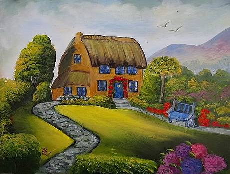 Thatched Country House by Fineartist Ellen