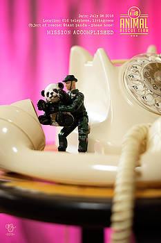 The 1-18 Animal Rescue Team - Panda phone home, retro telephone by Martine Carlsen