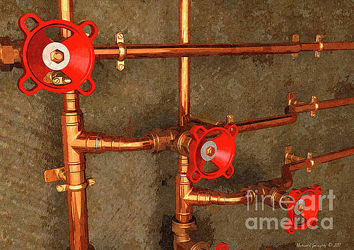 The Art Of Copper Pipework No2 - Amcg20170414 40 x 28 by Michael Geraghty