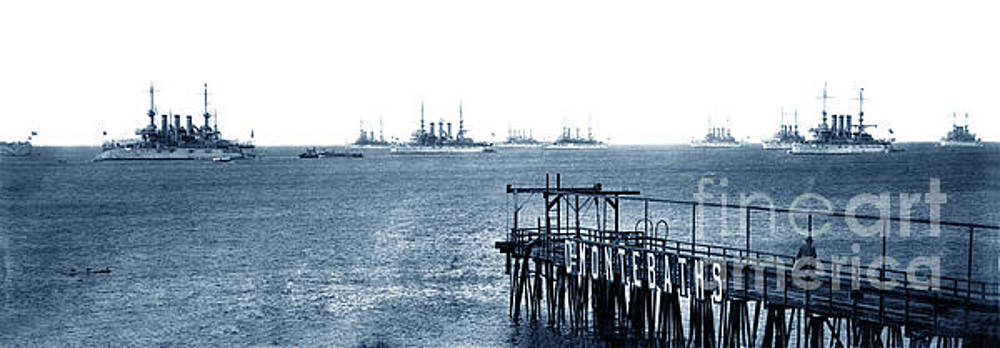 California Views Mr Pat Hathaway Archives - The Atlantic Fleet anchored off the Del Monte Bath House pier in 1908