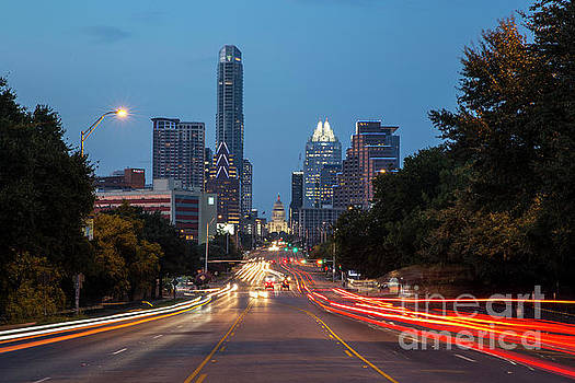 Herronstock Prints - The Austin Skyline and Texas Capitol at dusk from Soco Avenue