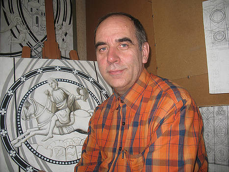 The Author himself in front of the preparatory drawings for the stained glass. Yune 2010 by Yuri Yudaev