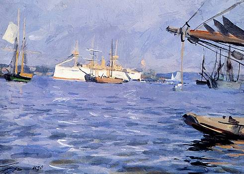 Zorn Anders - The Battleship Baltimore In Stockholm Harbor 1890