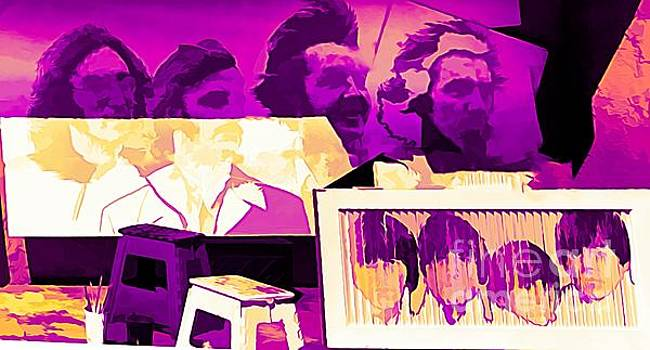Chuck Kuhn - The Beatles Collage Bright Fuchsia Colors