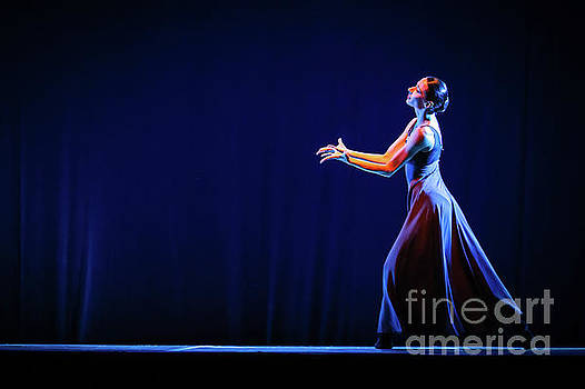 Dimitar Hristov - The beautiful ballerina dancing in blue long dress