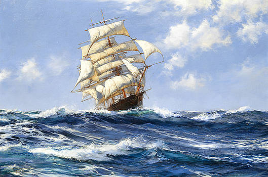 The beautiful Melbourne clipper Oberon running for home before the wind by Montague Dawson