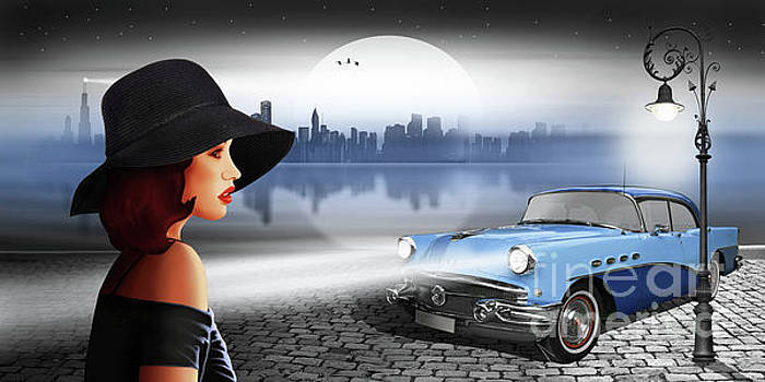 The beauty at night with vintage car by Monika Juengling