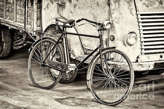 The Bike and the Truck BW by Martin Bergsma