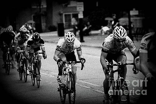 The Bike Race - Black and White by Frank J Casella