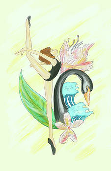 The Black Swan and Wild Flowers by Kenal Louis