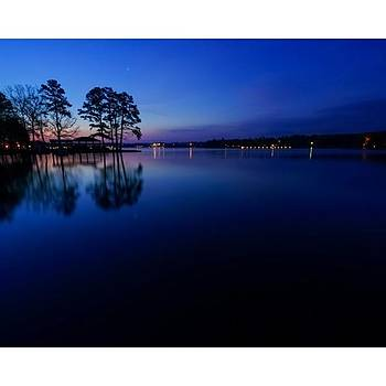 The Blue Hour On Lake Hamilton Near Hot by David Dedman
