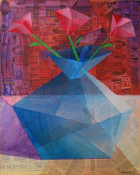 The Blue Rose Vase - Mixed Media by Mark Webster