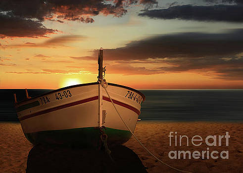 The boat in the sunset by Monika Juengling