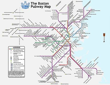 The Boston Pubway Map III by Unquestionable Taste