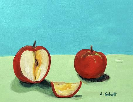 The Brilliant Red Apples With Wedge by Christina Schott