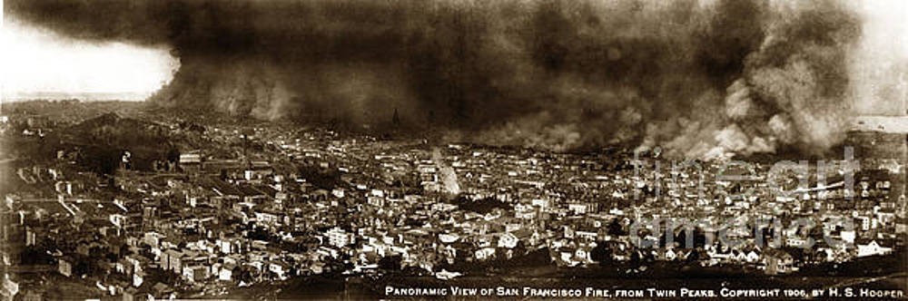 California Views Mr Pat Hathaway Archives - The Burning of San Francisco Panoramic View of San Francisco from Twin Peaks April 1906