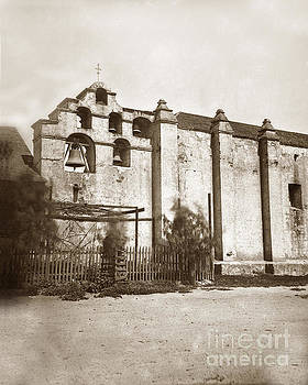 California Views Mr Pat Hathaway Archives - The campanario, or bell tower of San Gabriel Mission Circa 1880