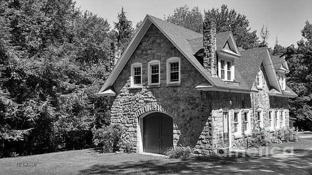 The Carriage House in black and white by E B Schmidt