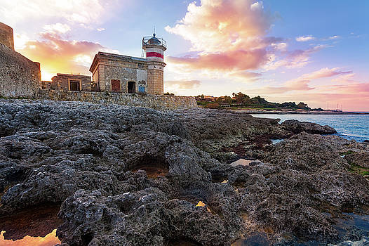 The castle of Brucoli and little lighthouse, Syracuse, Sicily, I by Alfio Finocchiaro