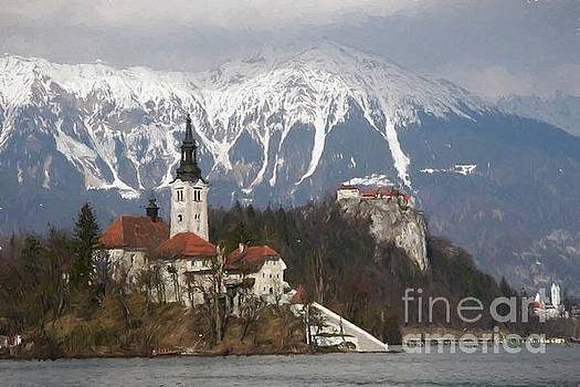 The church and the castle, Lake Bled by Howard Ferrier