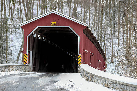 The Colemansville Covered Bridge in Winter by George Sheldon