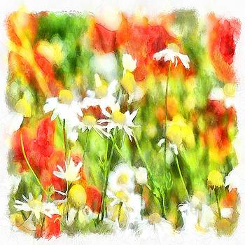 Tracey Harrington-Simpson - The Colors Of Spring On A Sunny Day Watercolor
