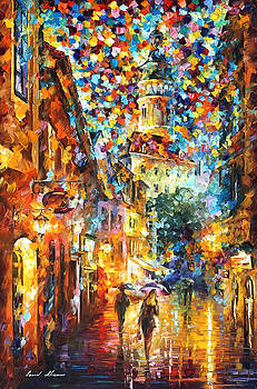The Confetti Of The City - PALETTE KNIFE Oil Painting On Canvas By Leonid Afremov by Leonid Afremov