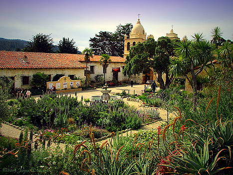 Joyce Dickens - The Courtyard Garden At Carmel Mission