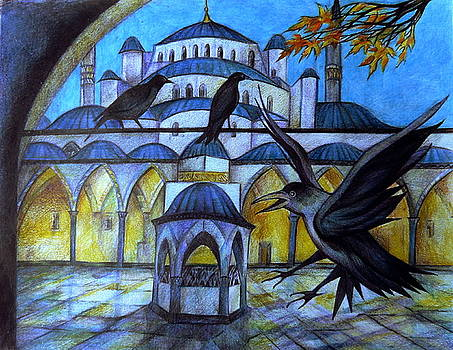 The Courtyard of the Blue Mosque at Dusk by Anna Duyunova