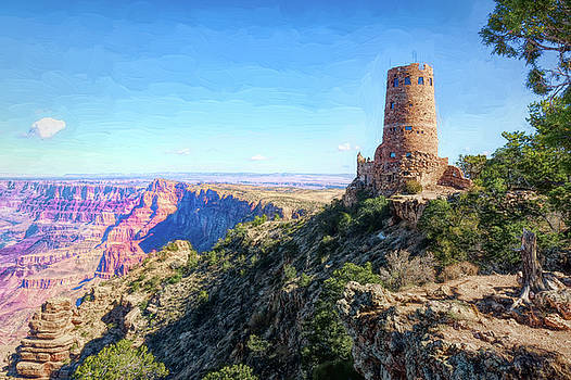 The Desert View Watchtower at the Grand Canyon by John M Bailey