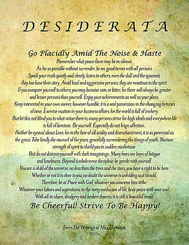The Desiderata Poster by Max Ehrmann Abstract Watercolor Forest by Desiderata Gallery