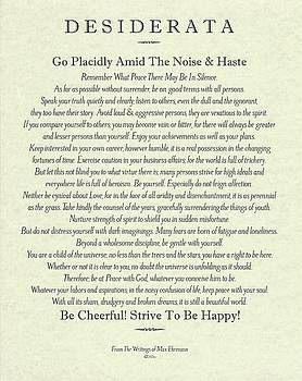 The Desiderata Poster by Max Ehrmann on Antique Parchment by Desiderata Gallery