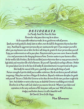 The Desiderata Poster by Max Ehrmann with Fallen Leaf by Desiderata Gallery