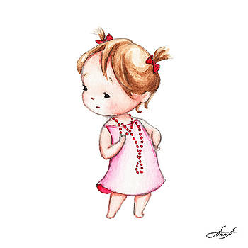 The Drawing of Little Girl in Red Beads by Anna Abramska