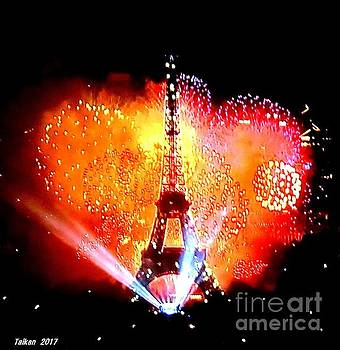 The Eiffel Tower On July 14 By Taikan by Taikan Nishimoto