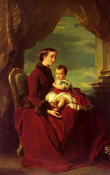 Winterhalter Franz Xaver - The Empress Eugenie Holding Louis Napoleon The Prince Imperial On Her Knees