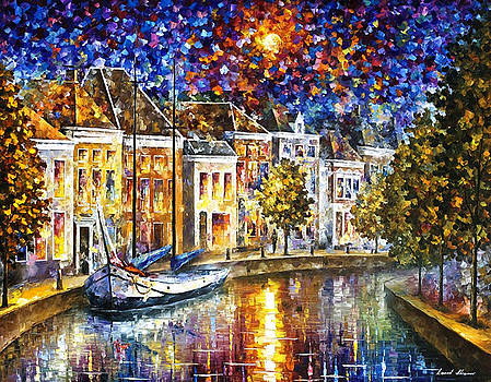 The Entrance To Amsterdam - PALETTE KNIFE Oil Painting On Canvas By Leonid Afremov by Leonid Afremov