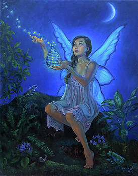 The Fairy Jade Freeing the Fireflies on a Summer Night by Johanna Girard