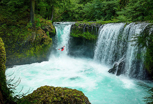 The fearless Kayaker at Spirit Falls by Matt Shiffler