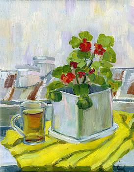 The First Snow.Morning Tea. by Lelia Sorokina