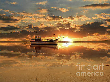The fishing boat at sunset by Monika Juengling