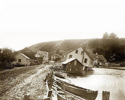 California Views Mr Pat Hathaway Archives - The Flagstaff Inn and the Bolinas Tavern on Wharf Road, tipped over 1906