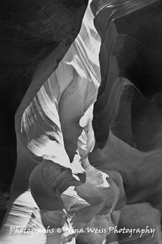 The Flame at Antelope Canyon in Arizona in Black and White - Fine Art Christmas Gift by Nina Weiss