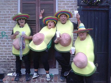 The Four Avocado's On Mardi Day 2018 On Bourbon St. by Michael Hoard