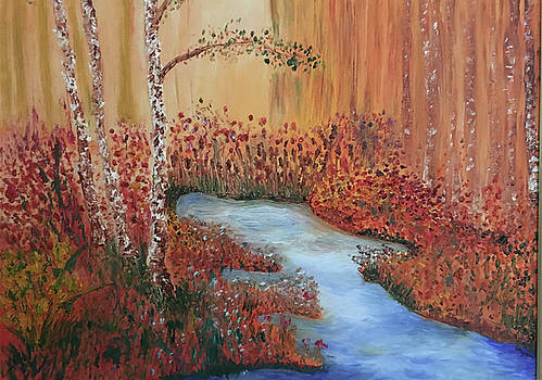 The Four Seasons of the 3 Birch Trees - Fall by Susan Grunin