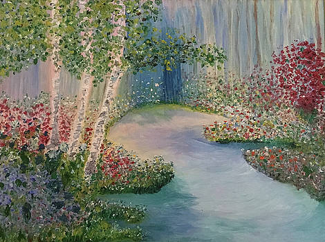 The Four Seasons of the 3 Birch Trees - Spring by Susan Grunin