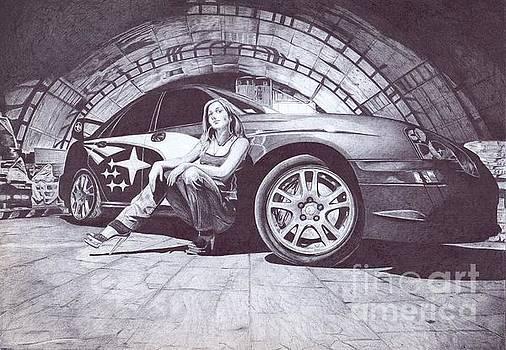 The girl at the car by Oleg Kozelskiy