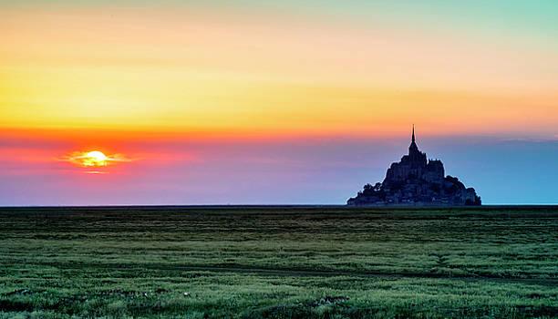 The Glow of Le Mont Saint-Michel at Sunset. by Paul Cullen